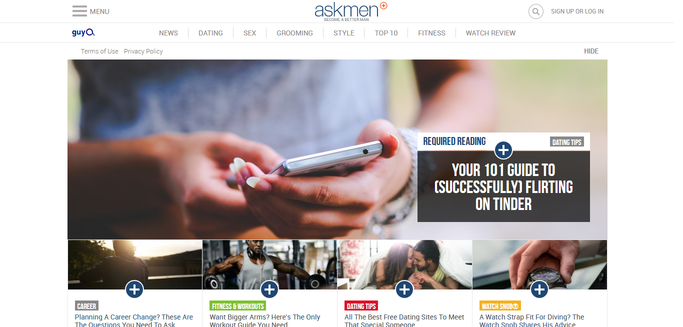 Page d'accueil du site AskMen