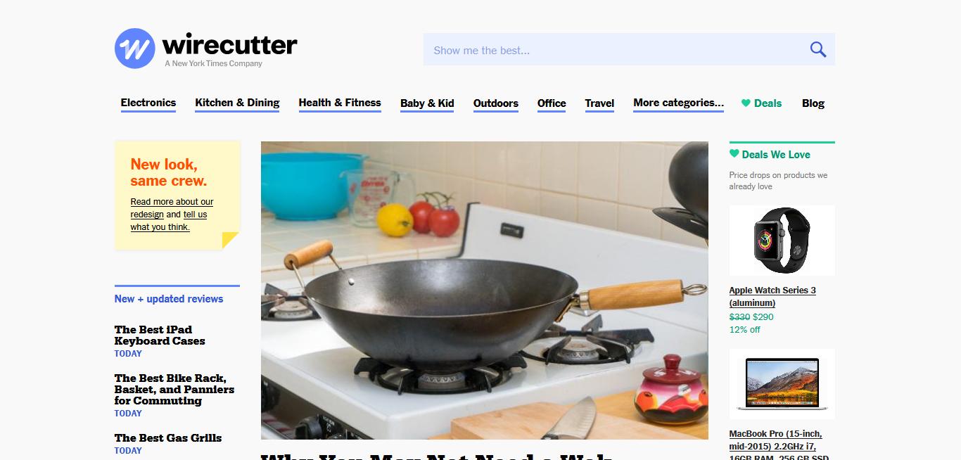 Page d'accueil du site Wirecutter