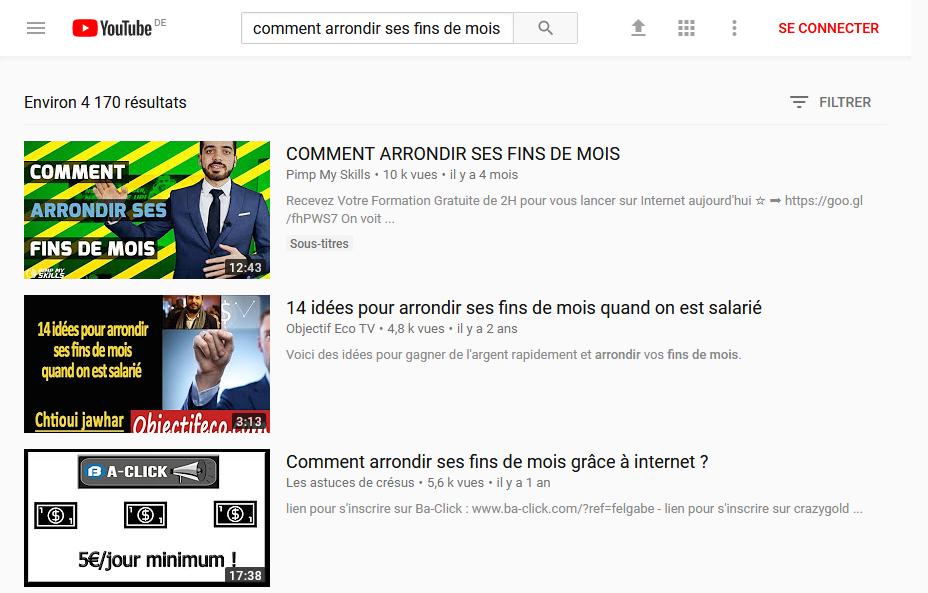 """Recherche Mots-clés Youtube """"Comment arrondir ses fins de mois"""""""