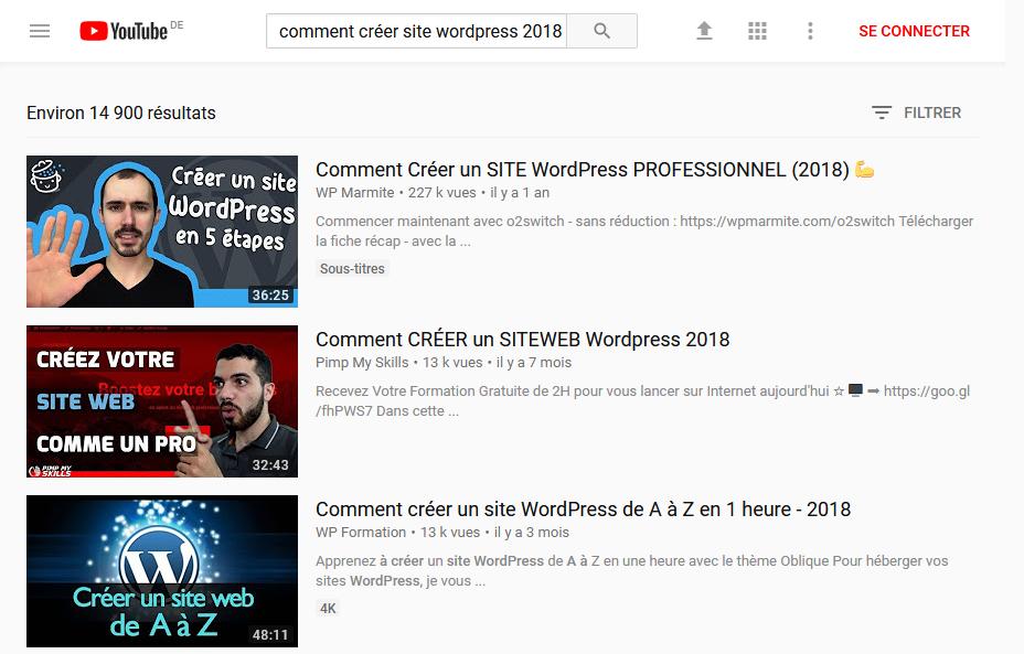 """Recherche Mots-clés Youtube """"Comment créer un site professionnel WordPress (2018)"""""""