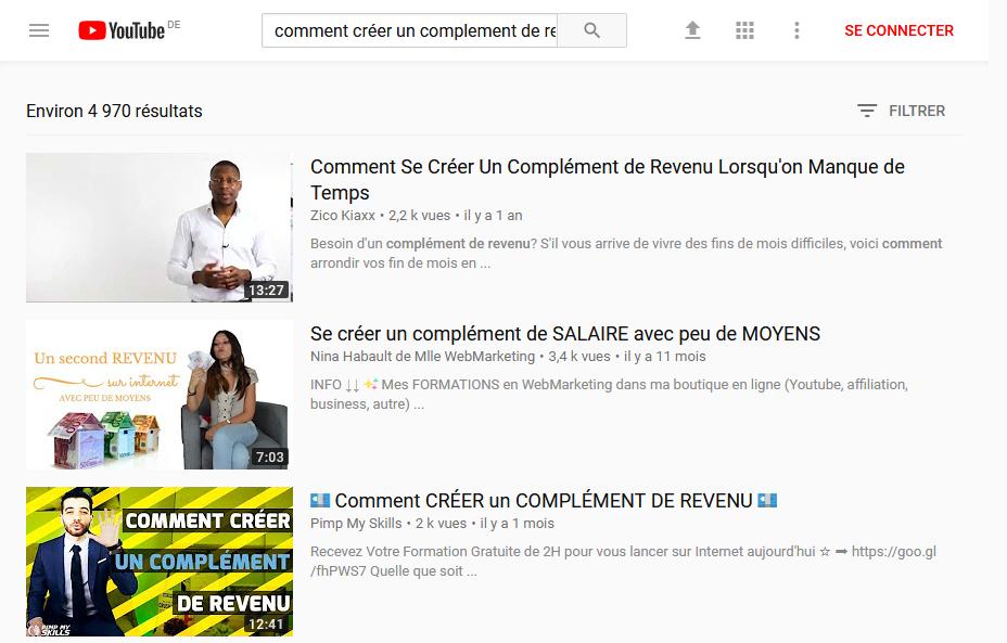 """Recherche Mots-clés Youtube """"Comment se créer un complément de revenus"""""""