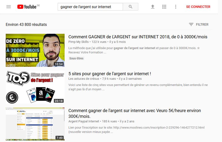 """Recherche Mots-clés Youtube """"Comment gagner de l'argent sur internet 2018"""""""