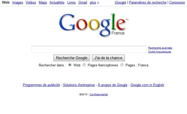 Page d'accueil Google il y a quelques années