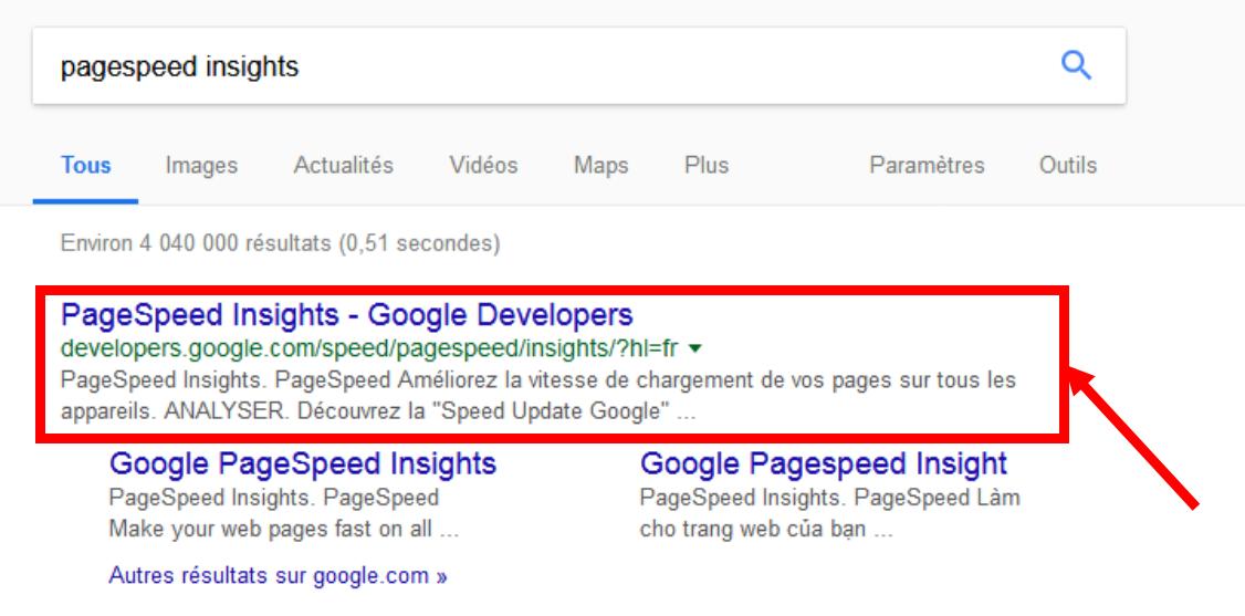 Recherche google pagespeed