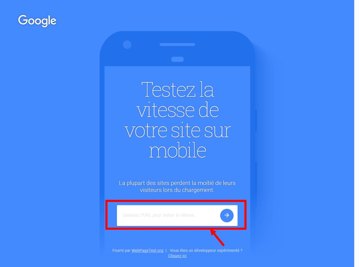 Page d'accueil testwithgoogle