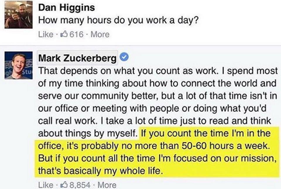 Texte : Combien d'heure de travaille de mark zuckerbeg