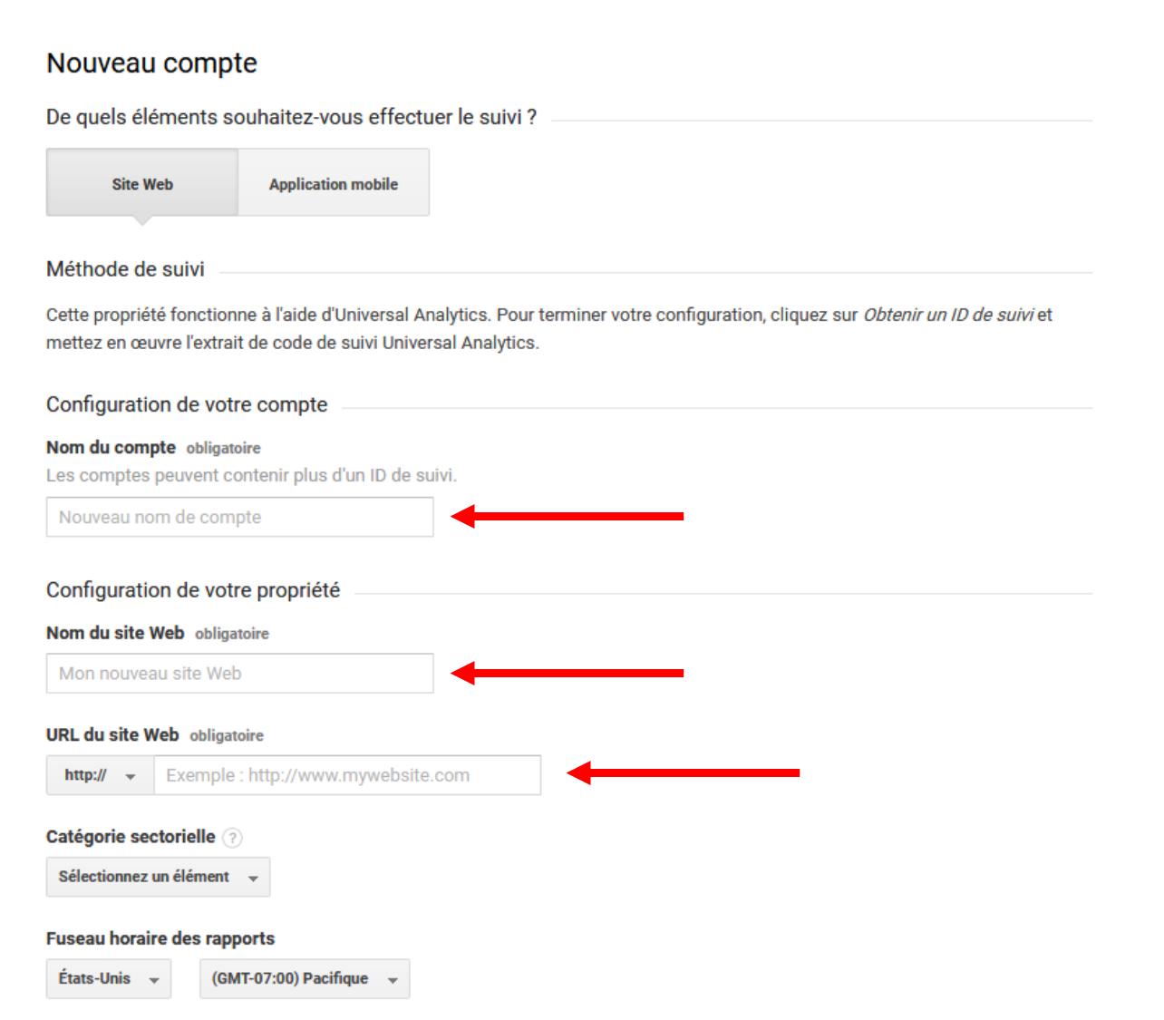 Formulaire de création d'un nouveau compte sur Google Analytics