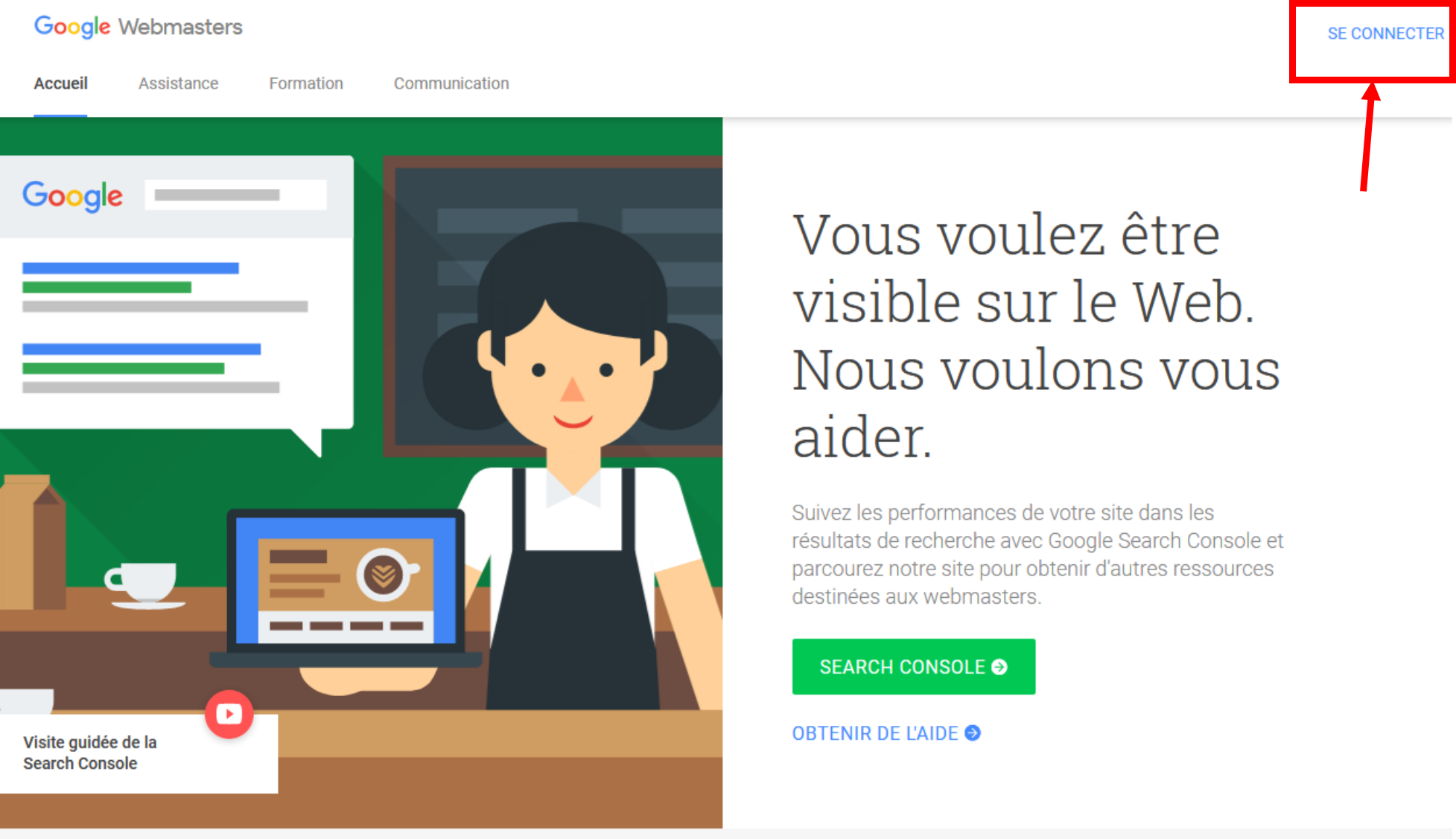 Page d'accueil de la Google Search Console