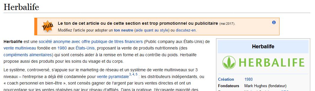 Herbalife sur Wikipedia