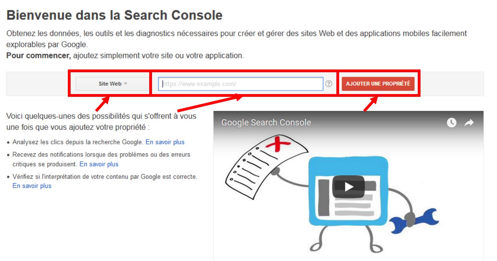 Ajout d'un nouveau site à la Google Search Console