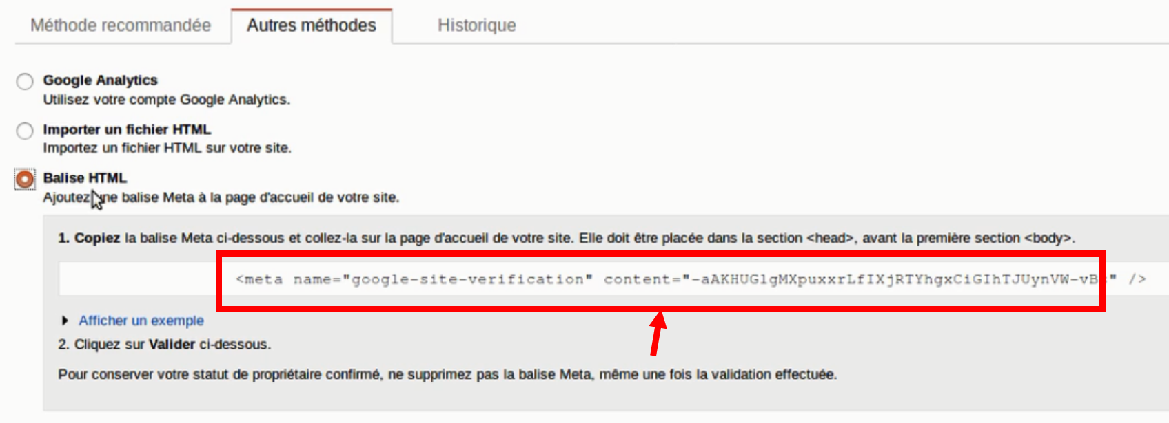 Méthode de vérification sur la Google Search Console