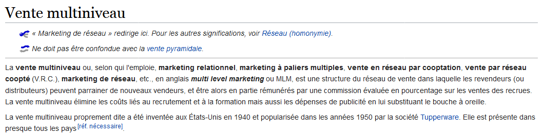 Définition Vente Multiniveau sur Wikipedia