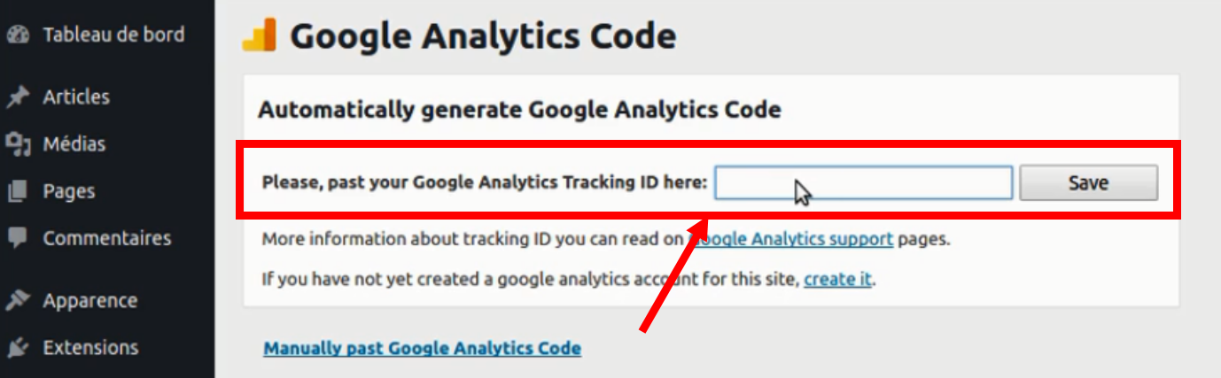 Interface du plugin Google Analytics Code