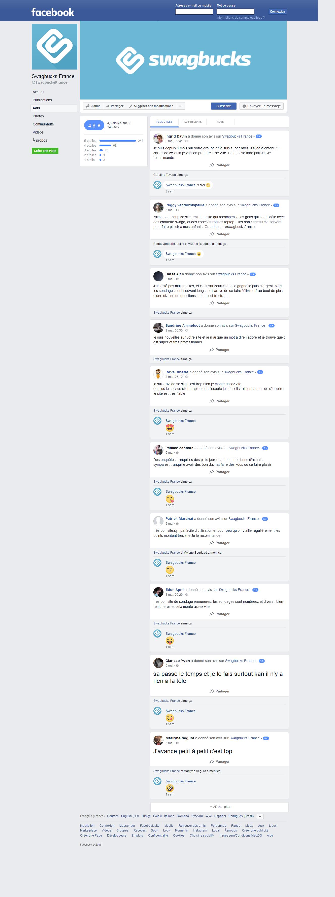 Les témoignages sur la page Facebook de Swagbucks France
