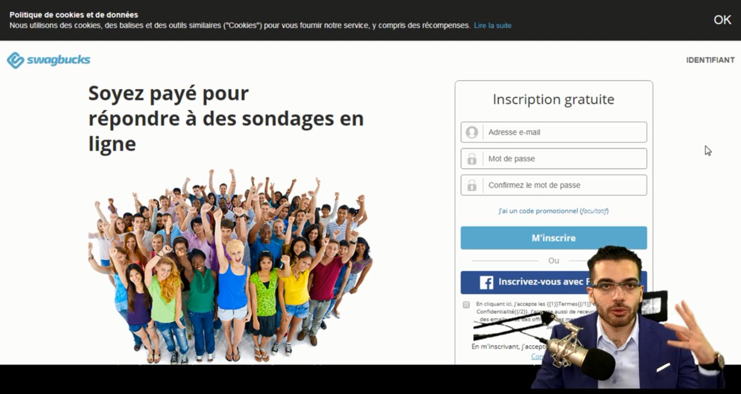 Page d'inscription sur Swagbucks France
