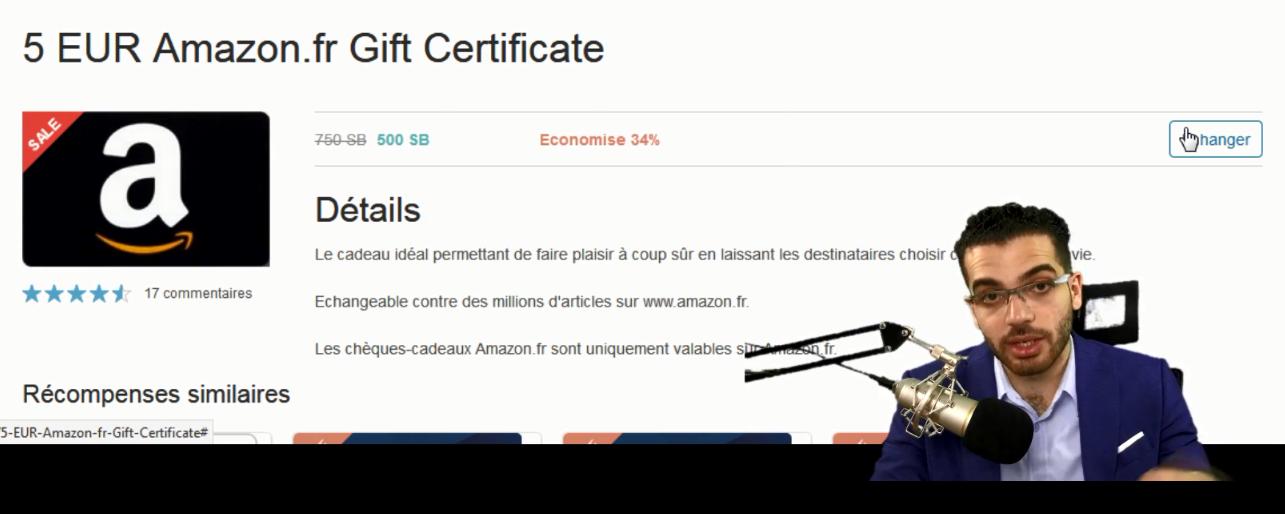 Echanger des SB contre un bon d'achat Amazon