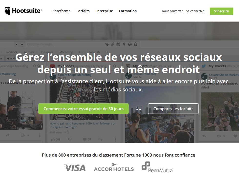 Page d'Accueil Hootsuite