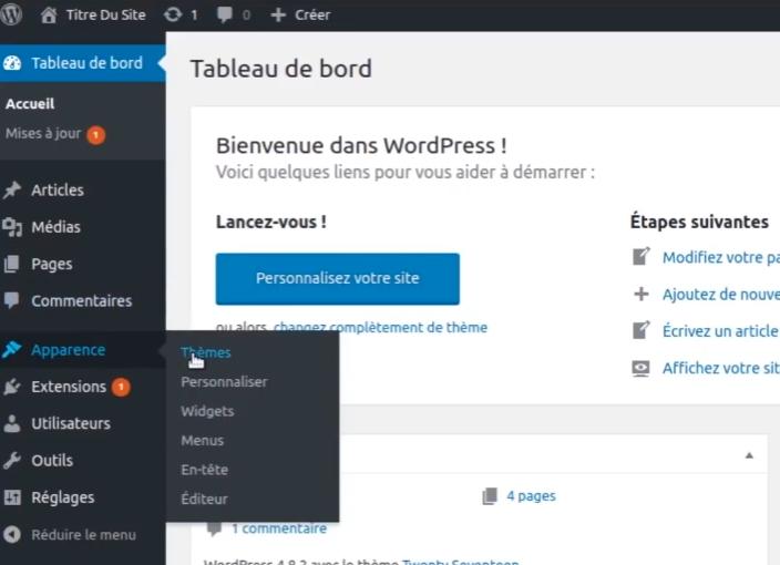 Menu Thèmes WordPress