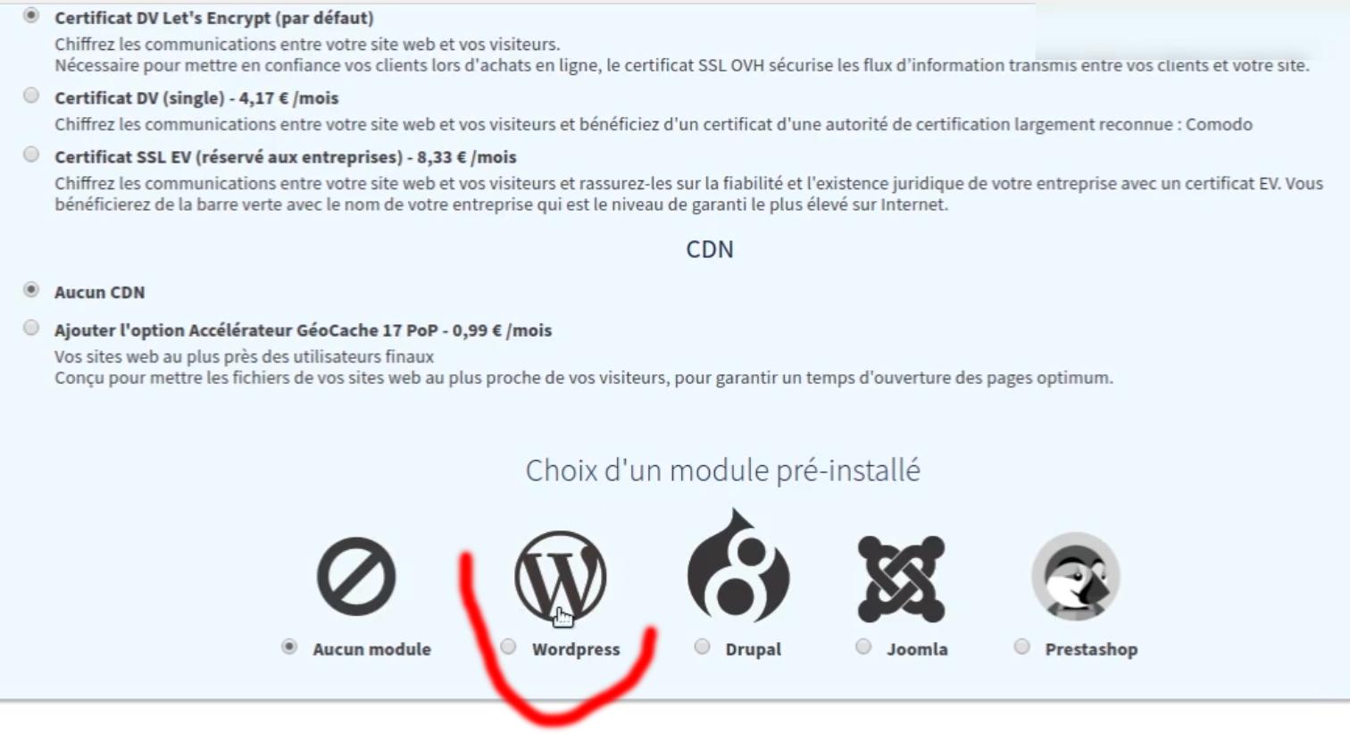 OVH installation automatique module WordPress