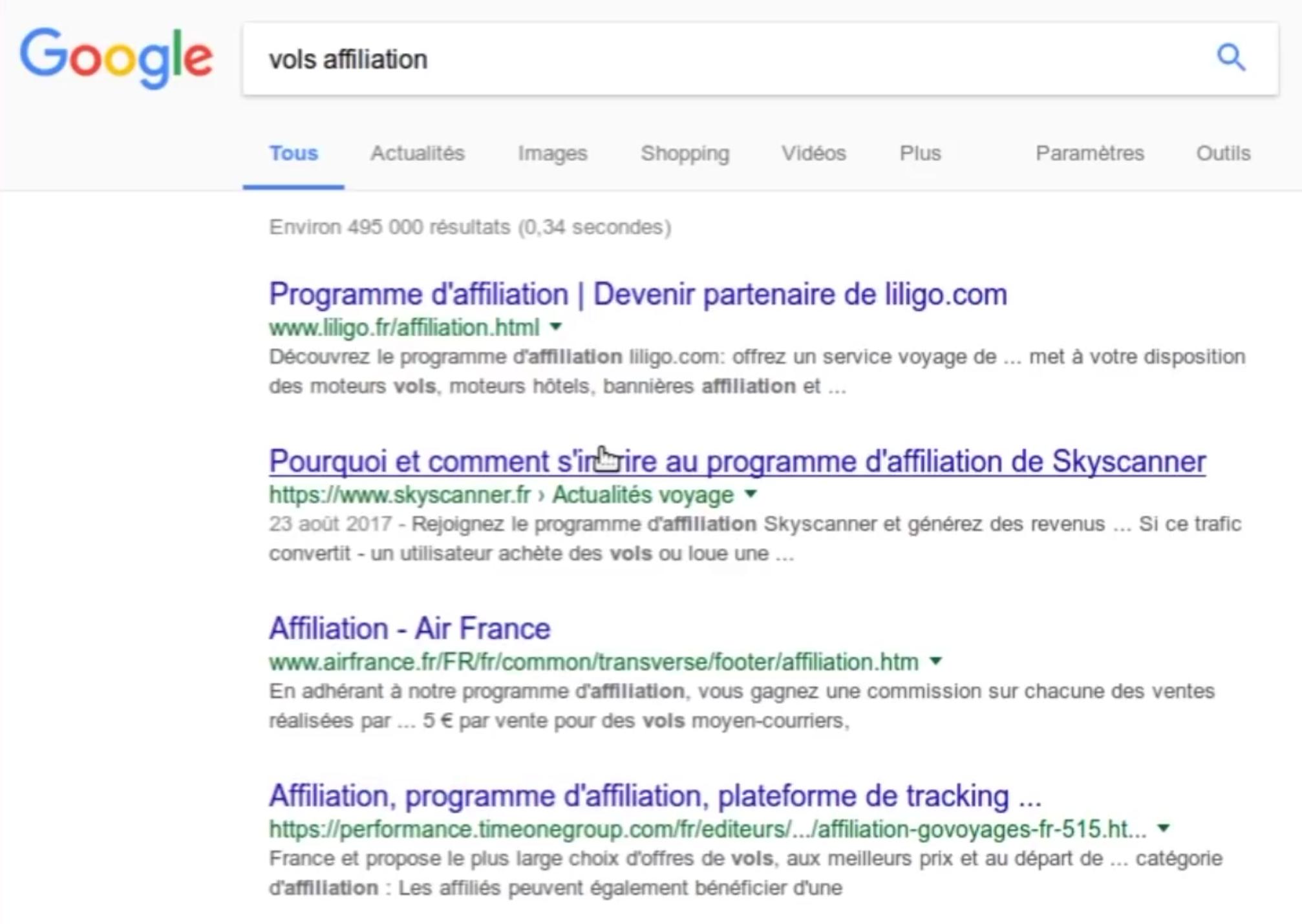 recherche google vols affiliation